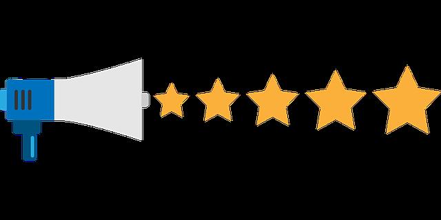 拡声器と星のマーク(★)のイラスト