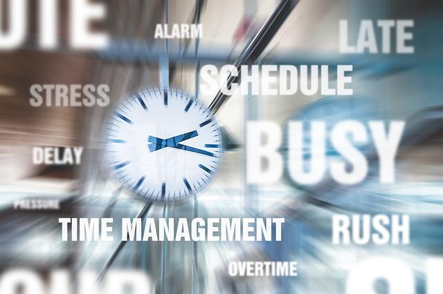 時計の絵やBUSY、タイムマネジメントなどの文字