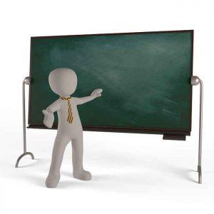 教師と黒板のイラスト